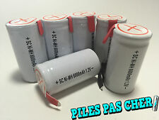 6 PILES ACCUS Sub C Nimh RECHARGEABLE 1.2V 6000mAH à LANGUETTE PATTE BATTERIES