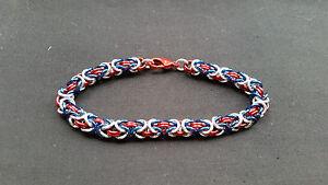 Atlanta Braves Anodized Aluminum Byzantine Chain mail Bracelet