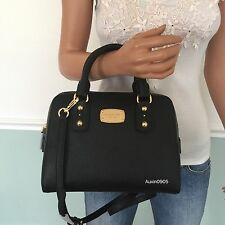 NEW! MICHAEL KORS Saffiano Leather Small Satchel Shoulder Crossbody Bag Black