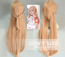 Sword Art Online Sao Asuna Light Brown Cosplay Costume Wig + Free Wig Cap