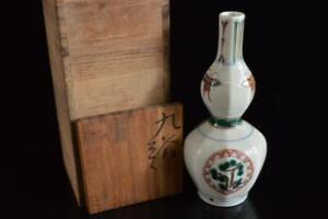 P6313: Japan Old Kutani-ware Gourd-shaped FLOWER VASE Ikebana, auto w/signed box