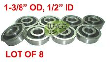 """QTY. 8, SEALED, FLANGED BEARINGS 1-3/8"""" OD x 1/2"""" ID, WAGONS, GO KARTS & MORE"""