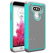 LG G5 Heavy Duty Rubber Dual Layer Impact Shockproof Hybrid Case - Teal / Gray