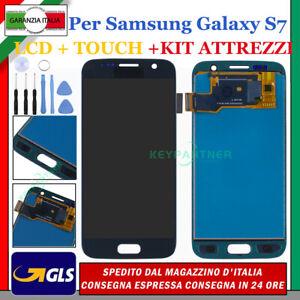 Per Samsung Galaxy S7 SM-G930F Display LCD + Touch Screen Nero Schermo Vetro GLS
