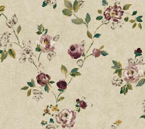 Burgundy Montage Floral Trail Sketch Roses Wallpaper  NP6327 - per Double Roll