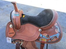 15 16 WESTERN BARREL SHOW TRAIL PLEASURE BLUE BLACK TOOLED LEATHER HORSE SADDLE