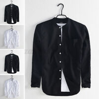 Men's Shirt Long Sleeve Stand Collar Cotton Linen Grandad T Shirts Slim Fit Top