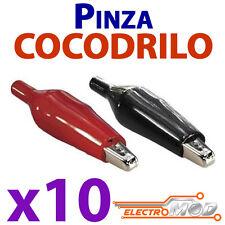 10x Conector pinza cocodrilo Rojo Negro Alligator Clip Crocodile test
