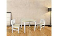 NEW Beautiful Kids Childrens Toddler White & Natural Wood Table And 2 Chairs Set