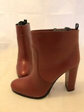 BNIB PRADA Red Leather Vitello Ankle Boots Heel Shoes EUR 40 UK7 New In Box