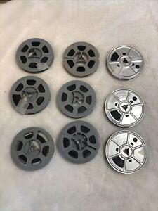 """Vintage 9 Movie Reels 3 EKCO Metal made in USA Kodak 6 Plastic 2-7/8"""" diam"""