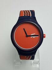 NEW Lacoste 2020113 Unisex Goa Silicone Blue Strap Orange/Red Dial Watch RRP £50