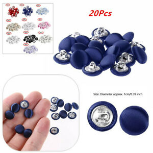 20Pcs 10mm Smooth Satin Covered Metal Shank Buttons for Tuxedo Suit Blouses Coat