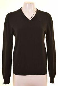 KAPPA Womens V-Neck Jumper Sweater Size 10 Small Black Cotton NJ19