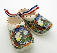 "Delft Blue Porcelain Shoes Mini Dutch Clogs Hand Made Holland Windmills 2.75"""