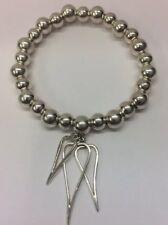 Sterling Silver Bead Bracelet With Tripple Heart Charm