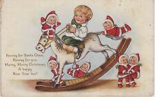 "Christmas Postcard Whitney Rocking Santa Babies ""Hooray for Santa Claus...""    U"