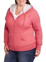 Faded Glory Women's Heather Peach Glow Sherpa Drawstring Hoodie Jacket Size 3X