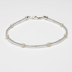 Cream Glass Pearl and Clear Ab Seedbead Anklet