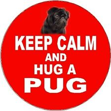 2 Pug (Black) Dog Car Stickers (Keep Calm & Hug) Red Background No2 By Starprint