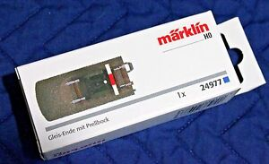 Marklin 24977 C Track End piece with Buffer, New in Box! W/ Low Cost US Shipping