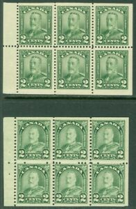 EDW1949SELL : CANADA 1928-30 Sc #150a, 164a Booklet panes F-VF, Mint OG. Cat $60