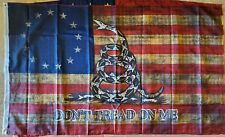 American BETSY ROSS GADSDEN DONT TREAD ON FLAG VINTAGE TEA STAINED USA 3X5 FLAGS