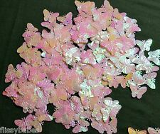 50 x Irridescent Pearly Sparkling Butterflies 23mm diameter Stick or Sew NEW