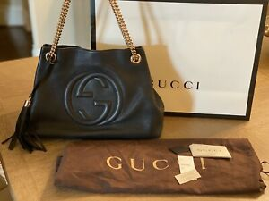 **Authentic** GUCCI Soho Black Leather Shoulder Bag - Medium💕