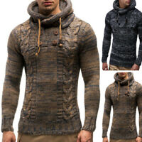 Men's Knitted Casual Jumper Sweater Hooded Pullover Long Sleeve Tops Hoodies