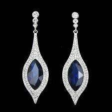 Crystal Long Dangle Statement Earrings 18K White Gold/P Sapphire Blue Austrian