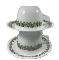 Set of 2 Vintage Pyrex Corelle Crazy Daisy Spring Blossom Tea Cups & Saucers Mod
