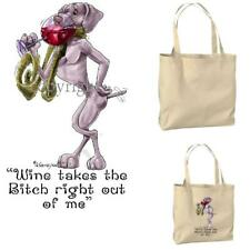 New ListingWeimaraner Dog Breed Wine Bitch Cartoon Artist Canvas Market Grocery Tote Bag