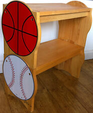 Rare American Sports Theme Beech Wooden Seat Bench Chair Book Shelves Basketball