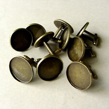 10 x ROUND COPPER CABOCHON SETTING CUFF LINKS BLANKS BRONZE TONE  Fit 20mm dia