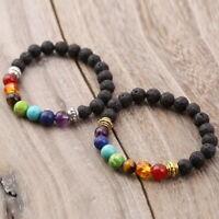 7 Chakra Healing Balance Lava Rock Yoga Reiki Beaded Bracelet Prayer Stones