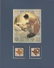 Norman Rockwell - Mother Tucking Children Into Bed - Frameable Stamp Art - 0339