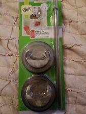 Ball Mason Drinkware Series Jar Sip & Straw Lids Regular Mouth Set of Two