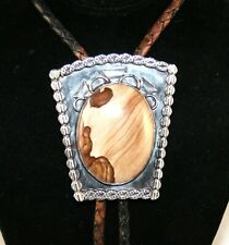 Sterling Silver Slide Picture Jasper Bolo Tie with Braided Leather Cord (#198)