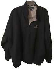 Big Dogs Black Polyester Golf Windbreaker Jacket Men's 2Xl Xxl Lined Half Zip Ls