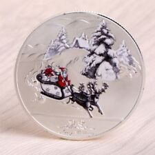Merry Christmas Santa Claus Deer Sleigh Commemorative Coins Silver Souvenirs New