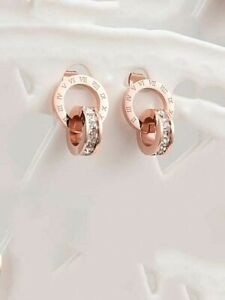 TITANIUM ROMAN INTERTWINED CRYSTAL14K ROSE GOLD PLATED EARRINGS GIFT BAG + CLOTH