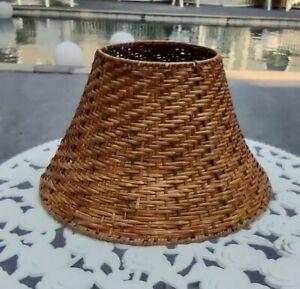 "Vintage Rattan Brown Wicker Woven Lamp Shade Boho Bohemian 14""x9""x7"""