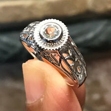 Natural 0.5ct Aquamarine 925 Solid Sterling Silver Art Deco Filigree Ring 7.25