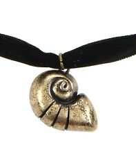 Disney THE LITTLE MERMAID CONCH SHELL PENDANT BLACK VELVET CHOKER Ariel Ursula