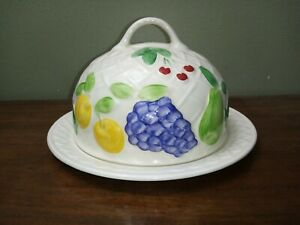 Vintage, Wade England, Cheese Dome, Butter Dish, Covered Dish, Embossed Fruit