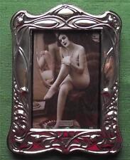 Big Art Nouveau Poppy London Hallmark English Silver Photo Frame Xmas Valentines