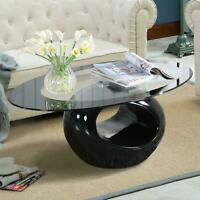 Modern Oval Glass Coffee Table w/ Round Hollow Shelf End Side Coffee Table Black