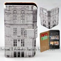 For HTC Series Mobile Phone Vintage Building Theme Print Wallet Phone Case Cover