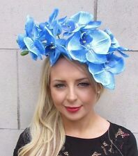 Large Sky Blue Orchid Flower Statement Fascinator Headpiece Headband Hair 3321